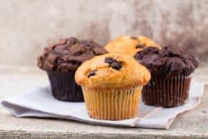 Vier leckere Muffins